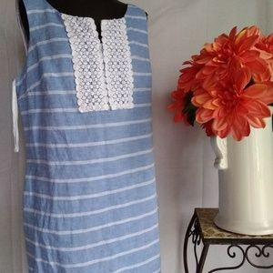 Talbot blue and white striped dress, size14.